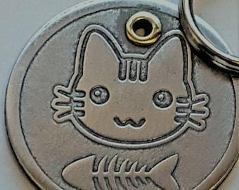 HandmadeA32 Cat ID Tag - Pet Tag-Kitten Name Tag-Hand Made BRASS Pet Tag-Custom-Design Cat Tag 25 Cat FACES