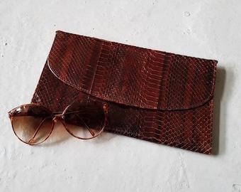 Mock croc brown clutch | Vintage clutch bag