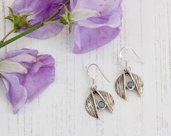 Labradorite Earrings, Silver and Labradorite Drop Earrings, Labradorite Drops
