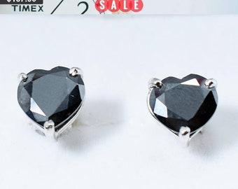 1.5 carats Heart Shape Black Diamond Studs,Anniversary Gift,Birthday Gift,Bridesmaid Gift,Wedding Gift, Valentine's Gift