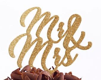 Mr & Mrs Cake Topper - Wedding Cake Topper - Personalised Cake Topper - Custom Cake Topper