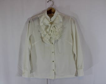 Vintage 1970s white long sleeve blouse with large crimped tuxedo style ruffle and high collar modern size Medium