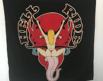 "70s deadstock tapestry devil HELL RIDE 45""x45"""