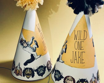 Party Hat inspired by the book Where the Wild things are, Custom Party Hats, Childerns book, Wild One, One Year Old, First Birthday, Max Hat