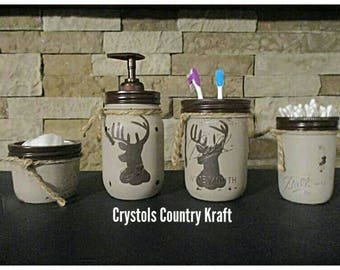 Deer decor bathroom set, deer soap jar, deer toothbrush jar, deer storage jars. Mason jar decor, cabin decor, rustic bathroom, deer bathroom