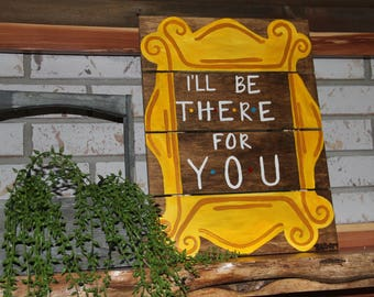 Friends Frame Sign. Friends Frame. I'll be there for you. Monicas peep hole frame. Yelllw Frame from Friends on purple door. Peep hole frame