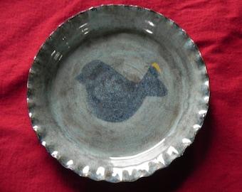 studio pottery plate  bird blue