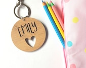 Love Heart Bag Tag / Keyring Wood Bamboo Personalised Custom-school-kinder-wooden-personalized-kindergarten-teacher gift-wooden