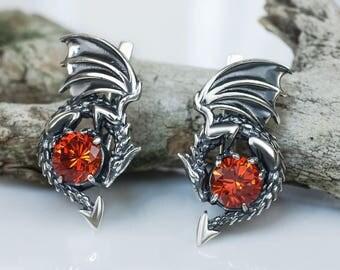 Dragon earrings sterling silver, INSPIRED by GAME of THRONES, Drachen Ohrringe pendientes dragón boucles d'oreilles dragon draak oorbellen