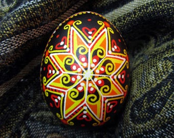 Traditional Ukrainian Easter egg.Hand painted Easter eggs.Pysanka.Ukrainian real Easter eggs.Batic eggs.Chicken pysanka