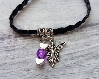 Angel Bracelet, Angel charm bracelet, angel gift, goddess charm bracelet, goddess charm, charm bracelet , leather bracelet, goddess gift