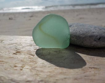 "Genuine Perfectly smoothed flawless Light green Thick Sea Glass piece-long-0.9""-Rare Sea Glass-Jewelry quality-Pendant size Sea Glass#J48"