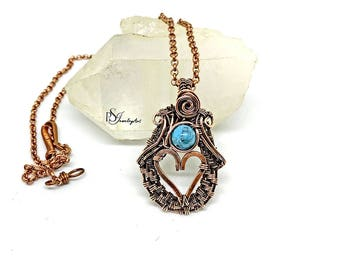 wire wrapped, howlite pendant, valentine gift, for her, boho copper jewelry, birthday gift, heart pendant, howlite necklace, heady pendant