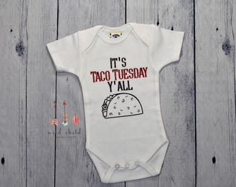 Taco Tuesday Baby Taco Baby Outfit It's Taco Tuesday Y'all Funny Baby Bodysuit Baby Boy Baby Girl Baby Fiesta Outfit