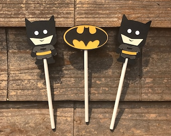 Super Hero Batman Themed Cupcake Toppers