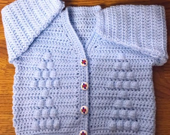 PDF Instant Download Baby Crochet Cardigan Pattern in DK. Sizes 3 months to 6 years (1018)