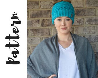 Messy Bun Beanie Crochet PATTERN, Crochet Messy Bun Beanie Pattern, Beanie Crochet Pattern, Messy Bun Beanie Pattern, DIGITAL DOWNLOAD