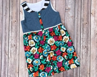 Upcycled Toddler Girls Dress Size 4T