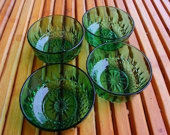 ARCOROC emerald green structured glass ramekins / bowls - Made in France -