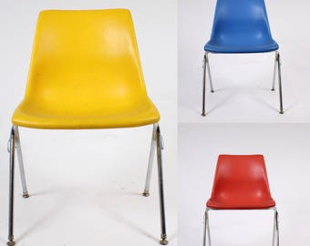 Mid century modern Stackable  Molded Plastic Blue, Red Or Yellow Chair KRUEGER