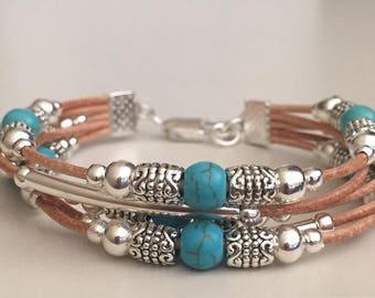 Beaded leather bracelet/Women's leather bracelet/Bohemian jewelry/Gemstone bracelet/Silver plated leather bracelet/Fashion jewelry