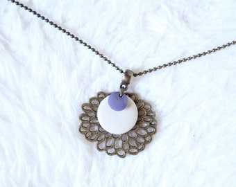 Cream and purple sequins and lotus flower necklace
