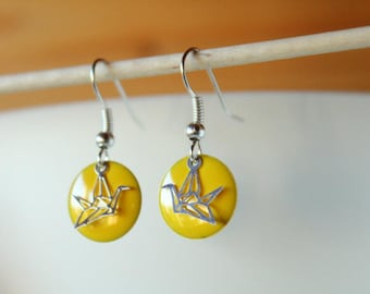 earring with yellow enameled sequin silver origami bird and Sun