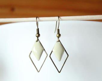 Bronze sequin enamel beige diamond cream and diamond earrings