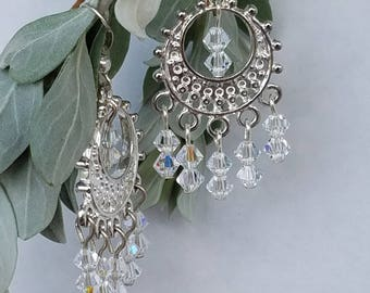 Chandelier Earrings Silver with clear AB crystals.