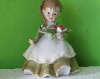 Vintage Collectibles, Lefton Figurines, December Figurine, Distributed by Lefton China of Chicago in the 1950's