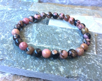 Rhodonite bracelet 6mm mala optimism enthusiasm