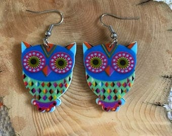 Owl dangle earring