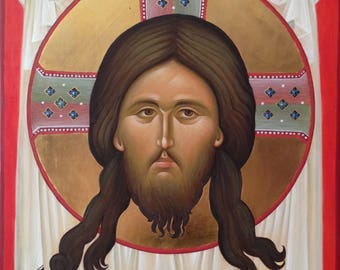 In stock! Byzantine Orthodox icon, Mandylion, Jesus Christ of Edessa, Ubrus, egg tempera