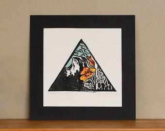 Yosemite Poppy Linocut Print