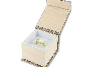"Burlap paper ring box, 2 1/8"" x 2 3/8"" x 1 3/4"", sold by the dozen"