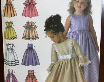 Uncut Simplicity girls formal dress pattern size AA 3,4,5,6