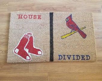 """Custom """"House Divided"""" outdoor doormat"""