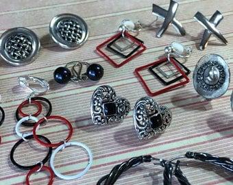 Black and Red Earring Lot Destash Silver Vintage Lot Clip on Post Repurpose Repair