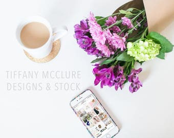 Purple Floral Custom Iphone Stock | Styled Stock Photography