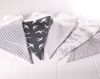 Handmade Grey Bunting. A mix of grey floral, checked, swallows etc. Grey theme wedding decoration or the perfect gift to style any room.
