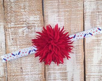 Patriotic Headband, Red Flower, Fireworks Headband, Newborn Headband, Toddler Headband, Girls Headband