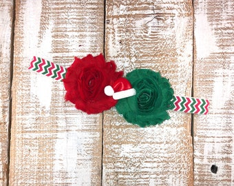 Christmas Headband, Holiday Headband, Red & Green Headband, Santa Hat Headband, Newborn Headband, Toddler Headband, Girls Headband, Photo Pr