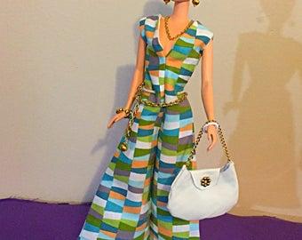 Barbie Handmade ooak silkstone mod multicolor geometric jumper with purse two bracelets a necklace earrings and a chain belt
