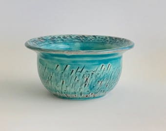 Small Handmade Carribean Blue Bowl with a Chattering Design