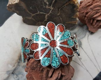 Sterling Silver Navajo Inlay Turquoise and Coral Cuff