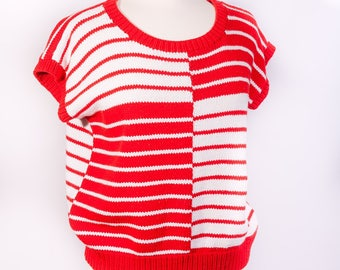 Vintage 80s Red and White Blocked Stripes Sleeveless Sweater Stretch Waist Striped Sweater Women's Medium