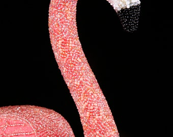 Cotton Candy- Beaded Pink Flamingo