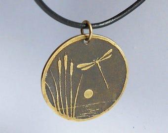 Vintage Japanese Dragonfly Pendant, Aesthetic Period, Round Brass Textured Pendant, Elegant Style