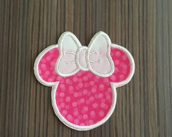 Pink and White Polka Dot Minnie Mouse Iron on Applique Patch