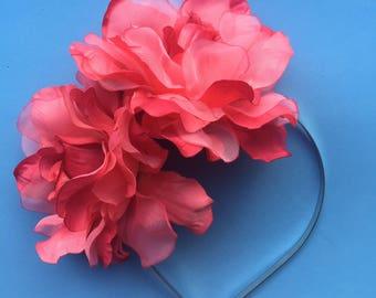 Pink Fascinator, Pink Flower Headband, Statement Hair Accessory, Dapper Day Hair Accessory, Wedding Fascinator, Coral Hair Flower,